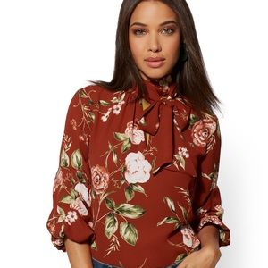 New York & Co. Floral Neck Tie Blouse